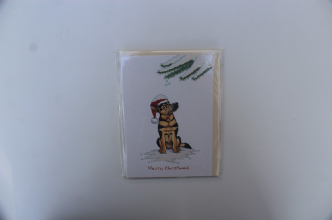 GERMAN SHEPHERD CHRISTMAS GREETINGS CARD CARTOON